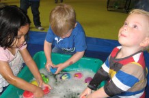 "Exploring ""the watery depths"" during Bubble Step class!"