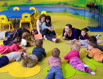 Preschool classroom: We focus on learning to listen and to follow directions!